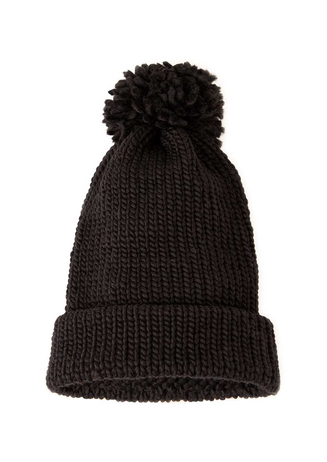 Little Badger Black Beanie - Handmade with 100% Wool