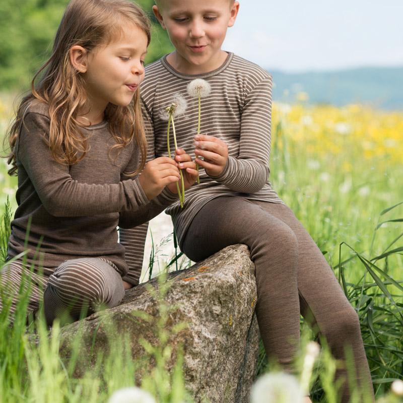 Leggings niños Lana Merino + Seda, walnut, Engel