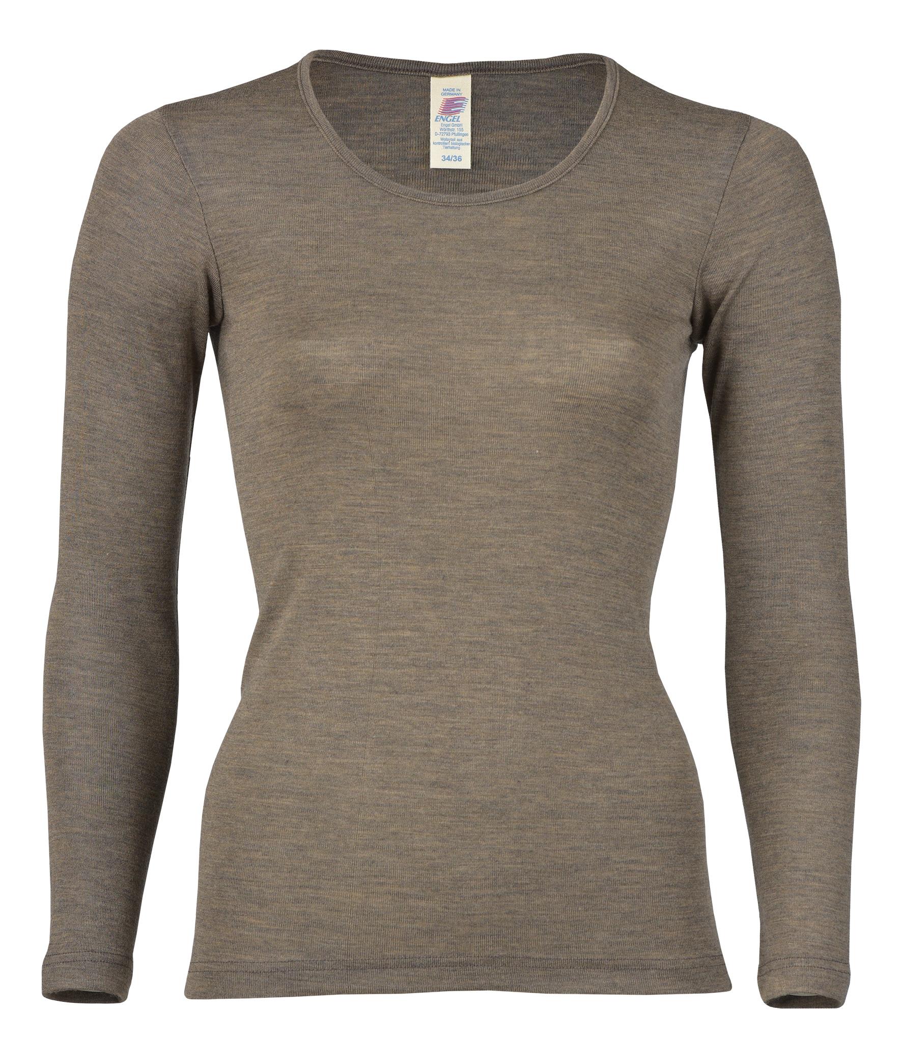 Camiseta Mujer Engel, Lana Merino y Seda, Walnut