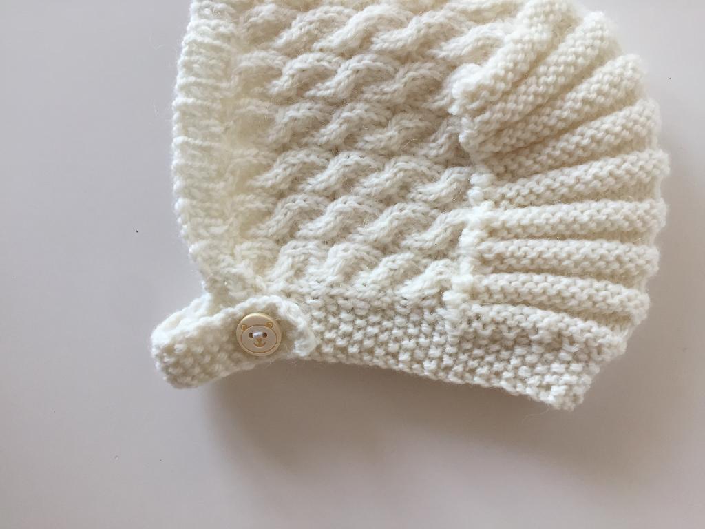 Merino wool, braided hat, 0-3m