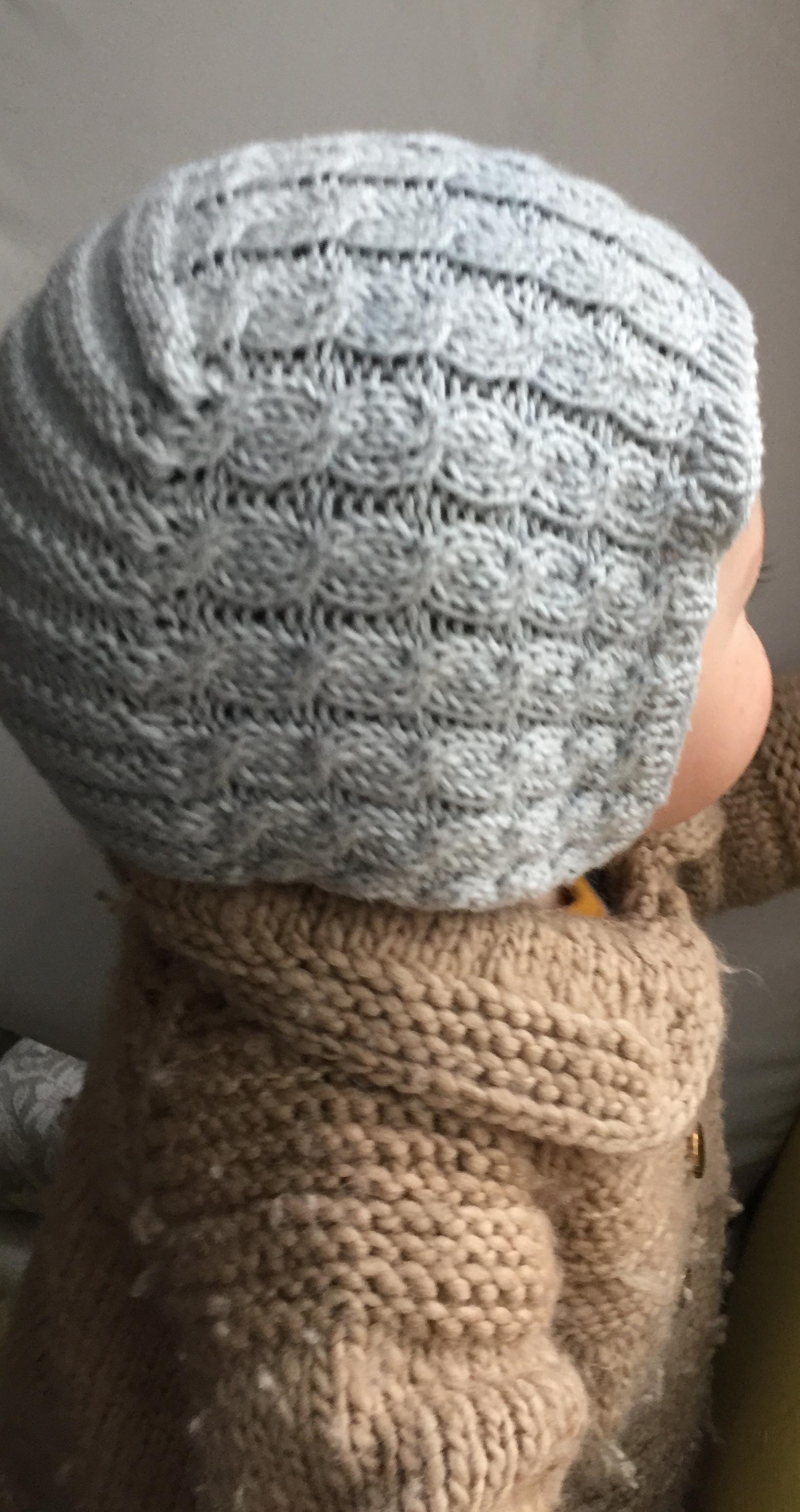 Merino wool, Celestial gray braided hat, 9-18m