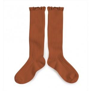 High sock, terracotta