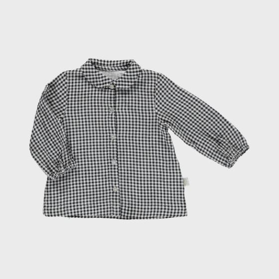 Capucine blouse, Vichy carbone lait, 9m - 6y