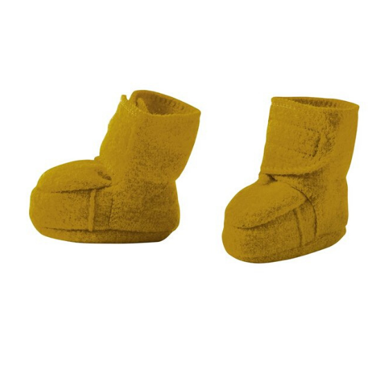 Boiled Merino Wool Bootees, Gold