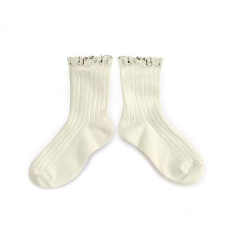 Calcetines cortos encaje, Lili, blanco