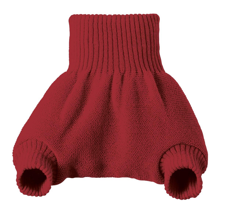 Short pretina alta / cubrepañal 100% lana virgen Merino orgánica, burdeo