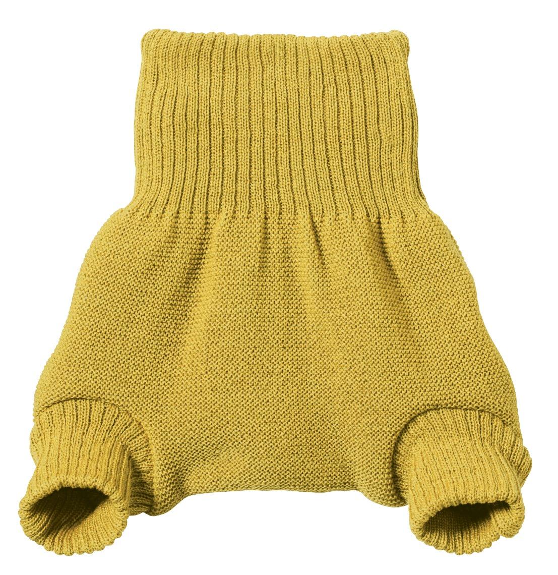 Short pretina alta / cubre pañal 100% lana virgen Merino orgánica, curry