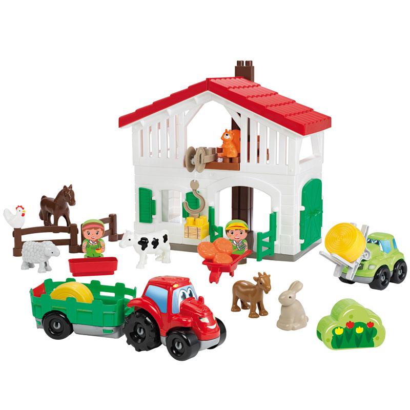 Abrick, Granja y tractor con accesorios 17pz