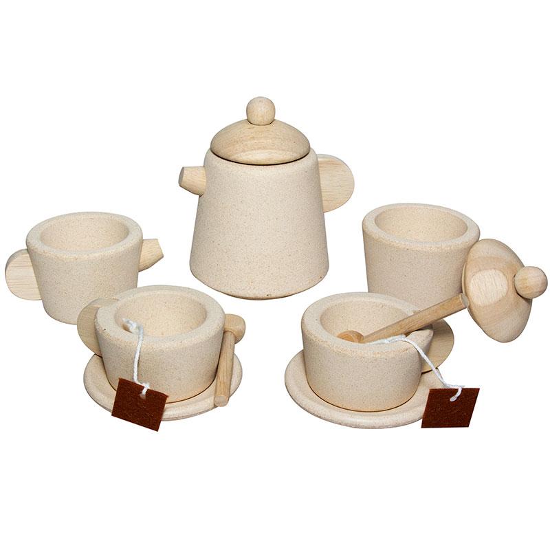 Set de té madera color natural 12pz