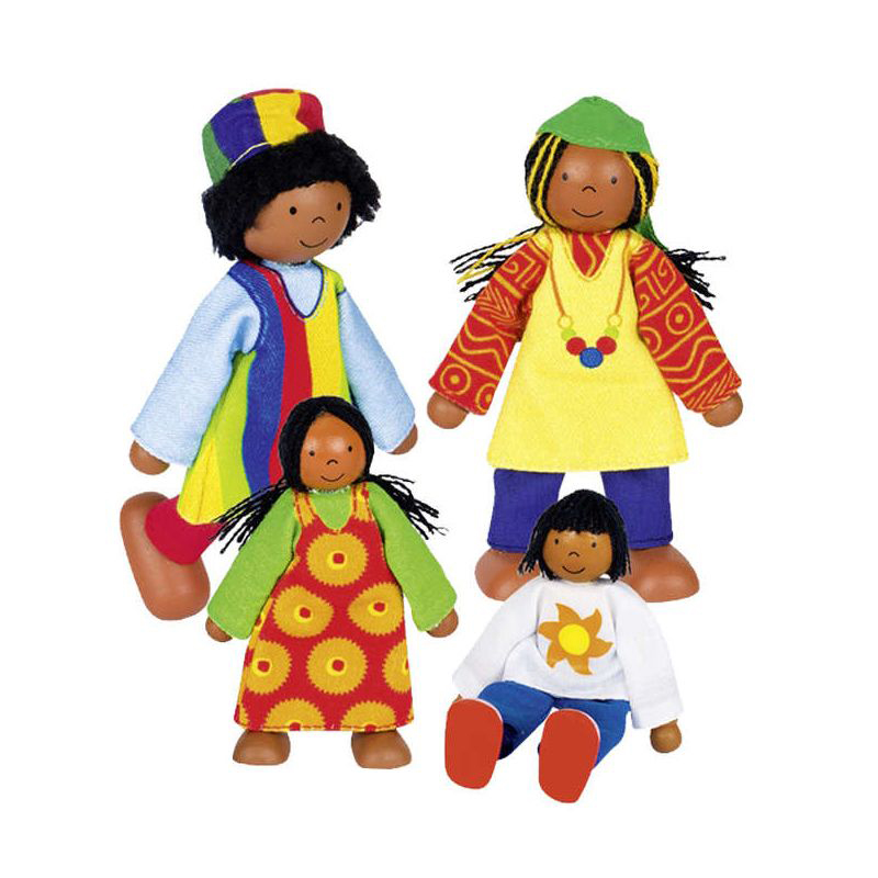 Set 4 muñecos articulados familia africana