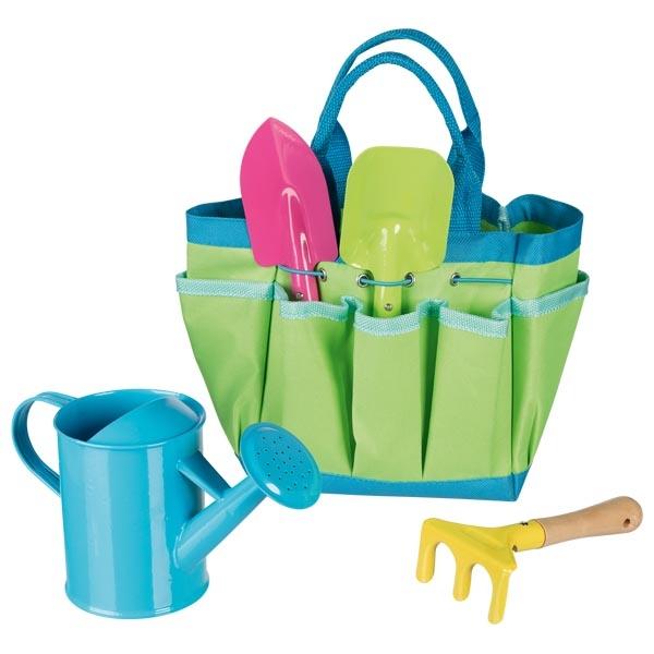 Herramientas de jardinería en bolsa de tela