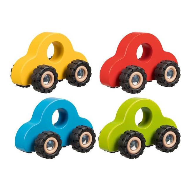 Pack 4 autos de madera 13cm en 4 colores