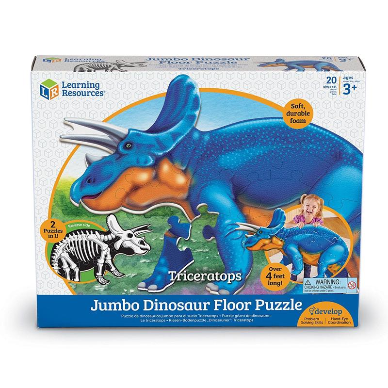 Dino puzle gigante para piso, diseño Triceratops 20pz