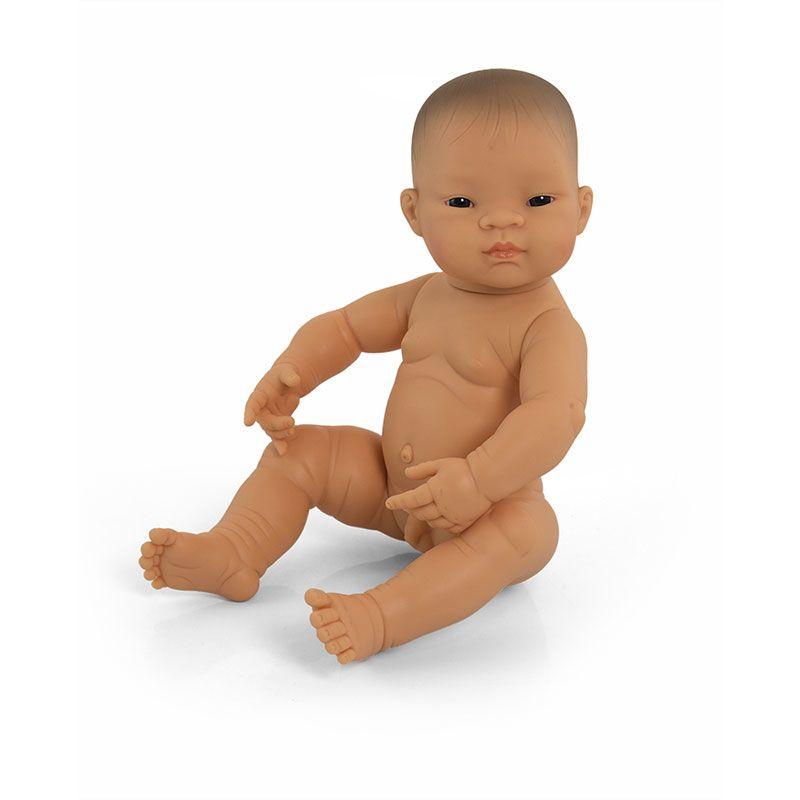 Bebé asiático niño 42cm sin pelo