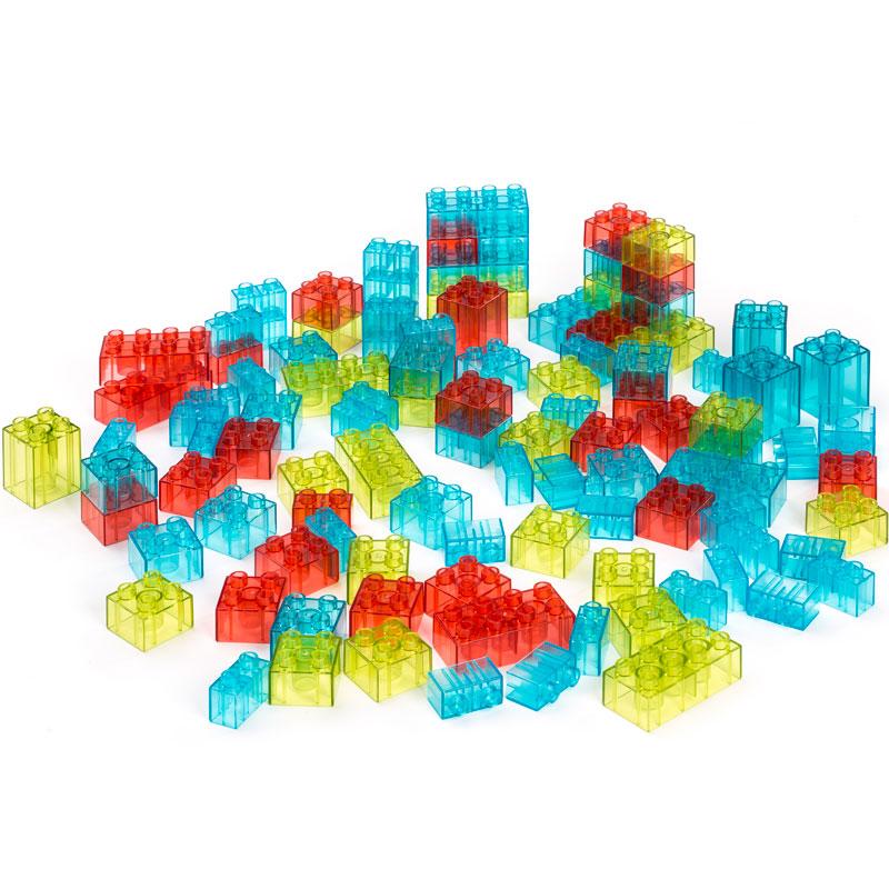 Barril con 100 bloques traslúcidos encajables