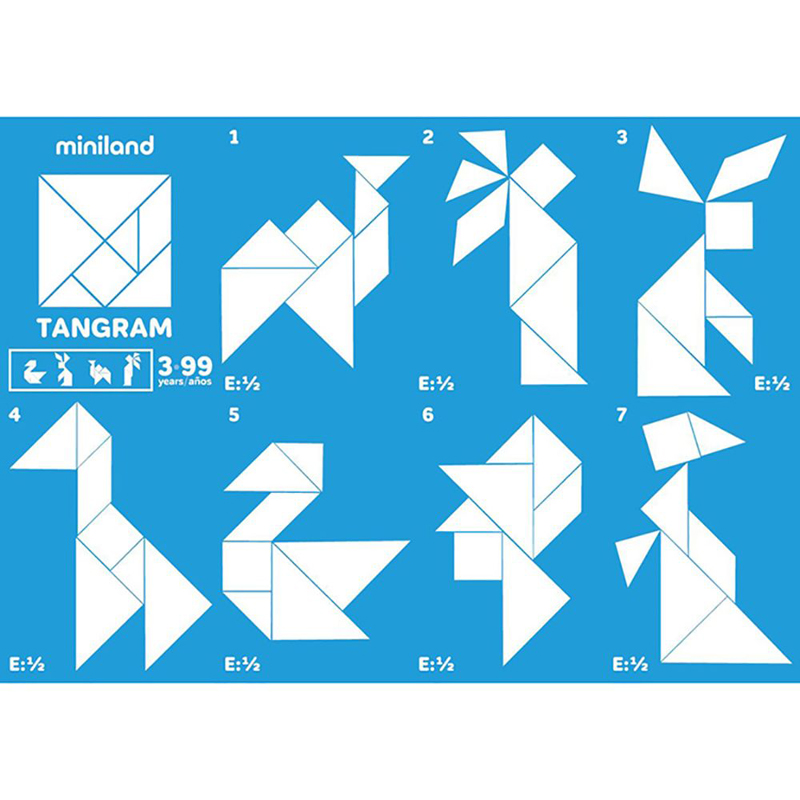 Set de 12 tangramas plásticos 84pz