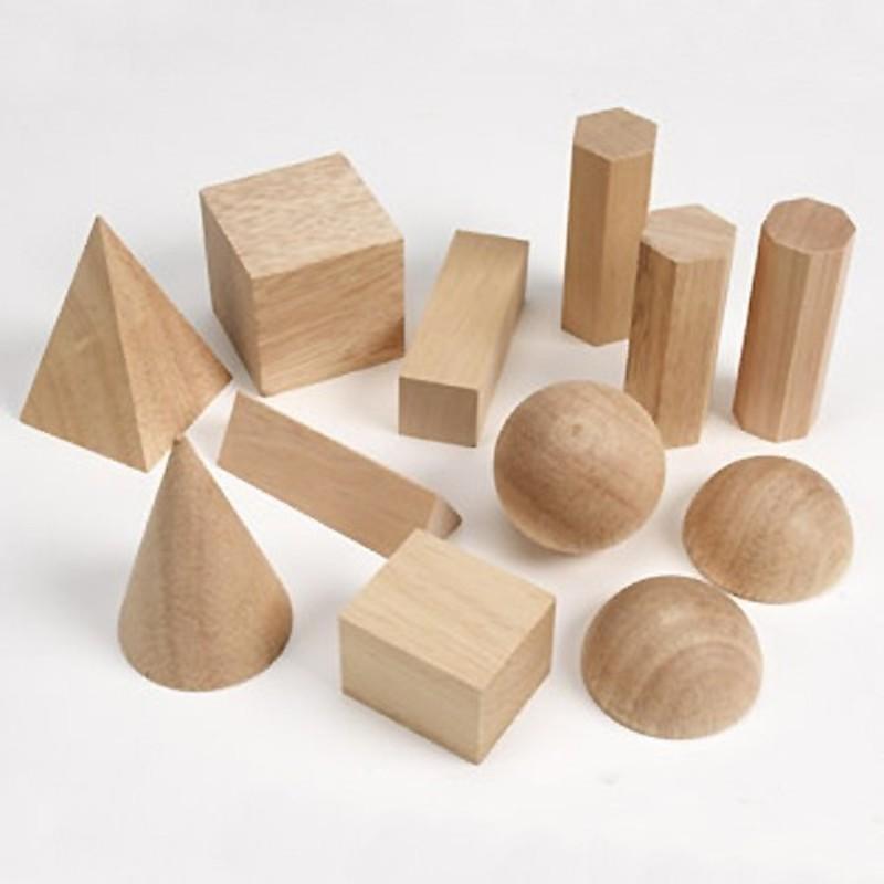 Cuerpos geométricos de madera 12pz