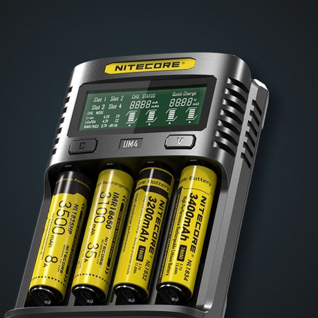 Nitecore UM4 4-slot Quick Charger slot 2ah super fast charging