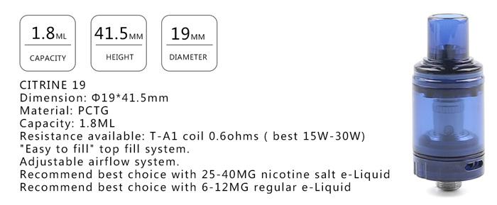 Tank citrine mtl 19mm teslacigs