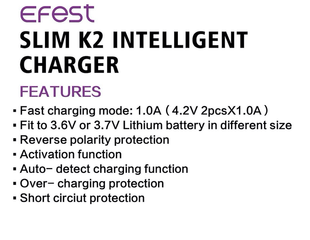 Efest SLIM K1 Intelligent Charger - Efest SLIM K2 Intelligent Charger