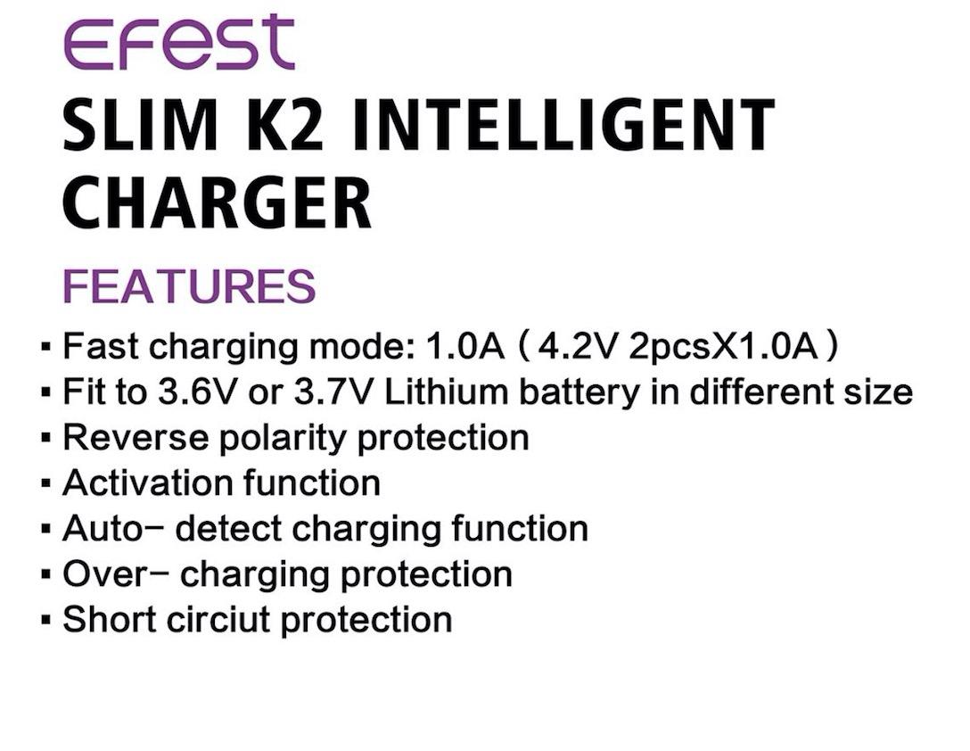 Efest SLIM K1 Intelligent Charger - Efest SLIM K2 Intelligent Charger