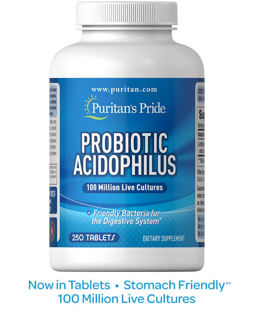 Probiotico L-Acidophilus 100 millones 250 tabs - Puritan´s Pride