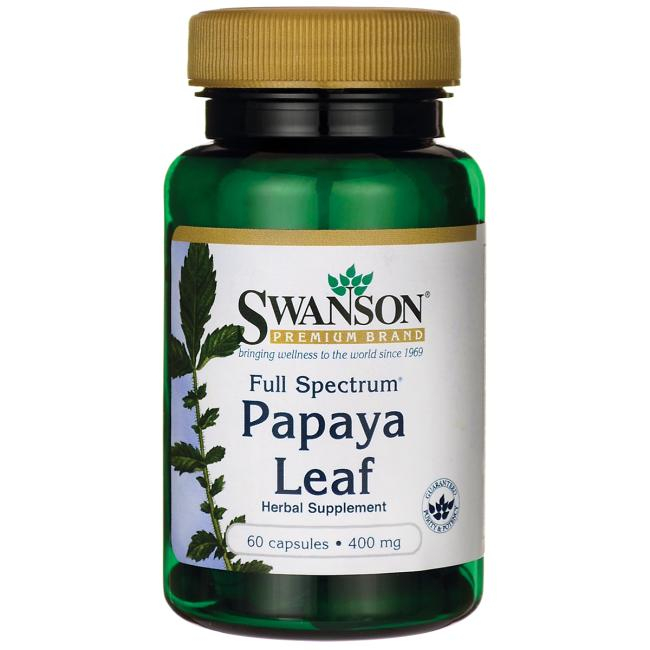 Hojas de Papaya 60 capsulas 400mg - Swanson