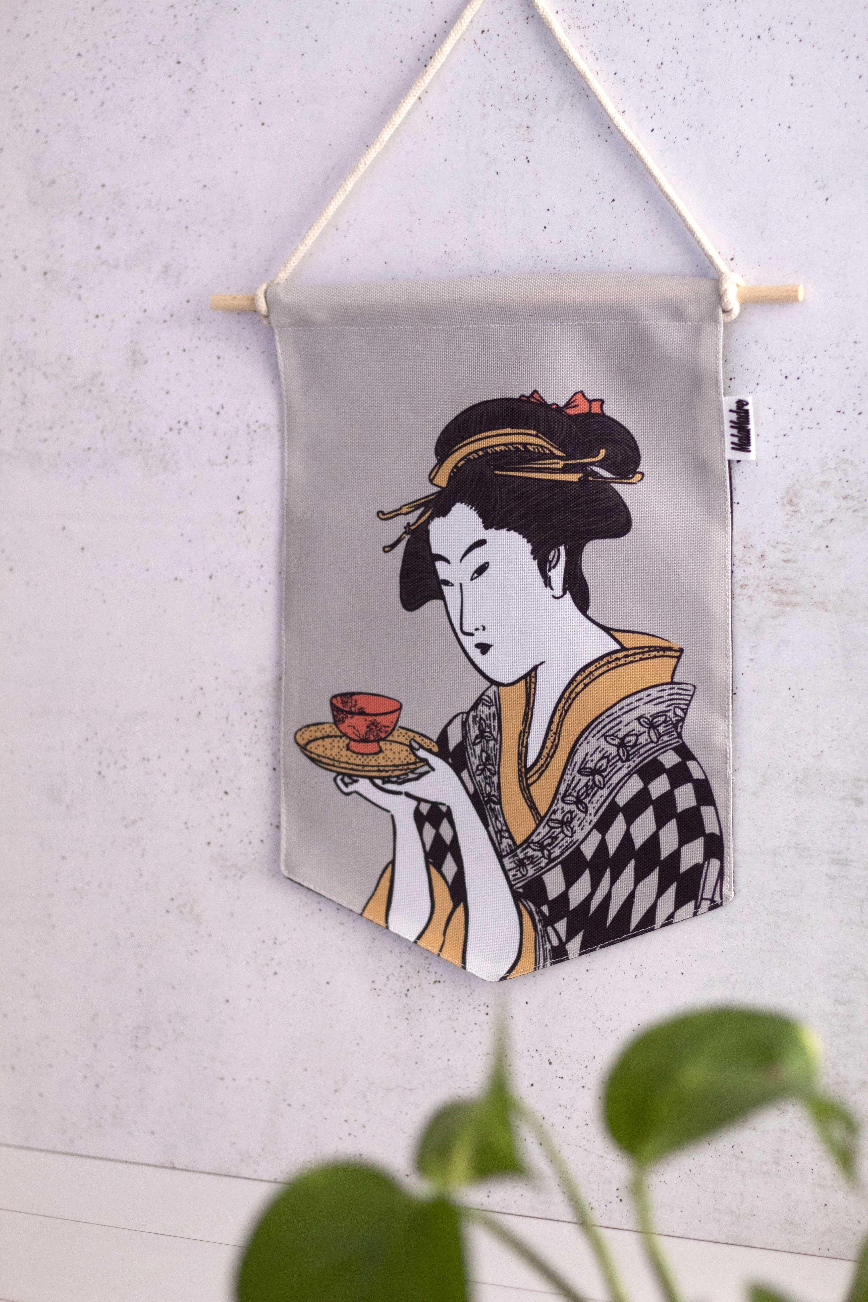 Banderín Geisha en Fondo Gris