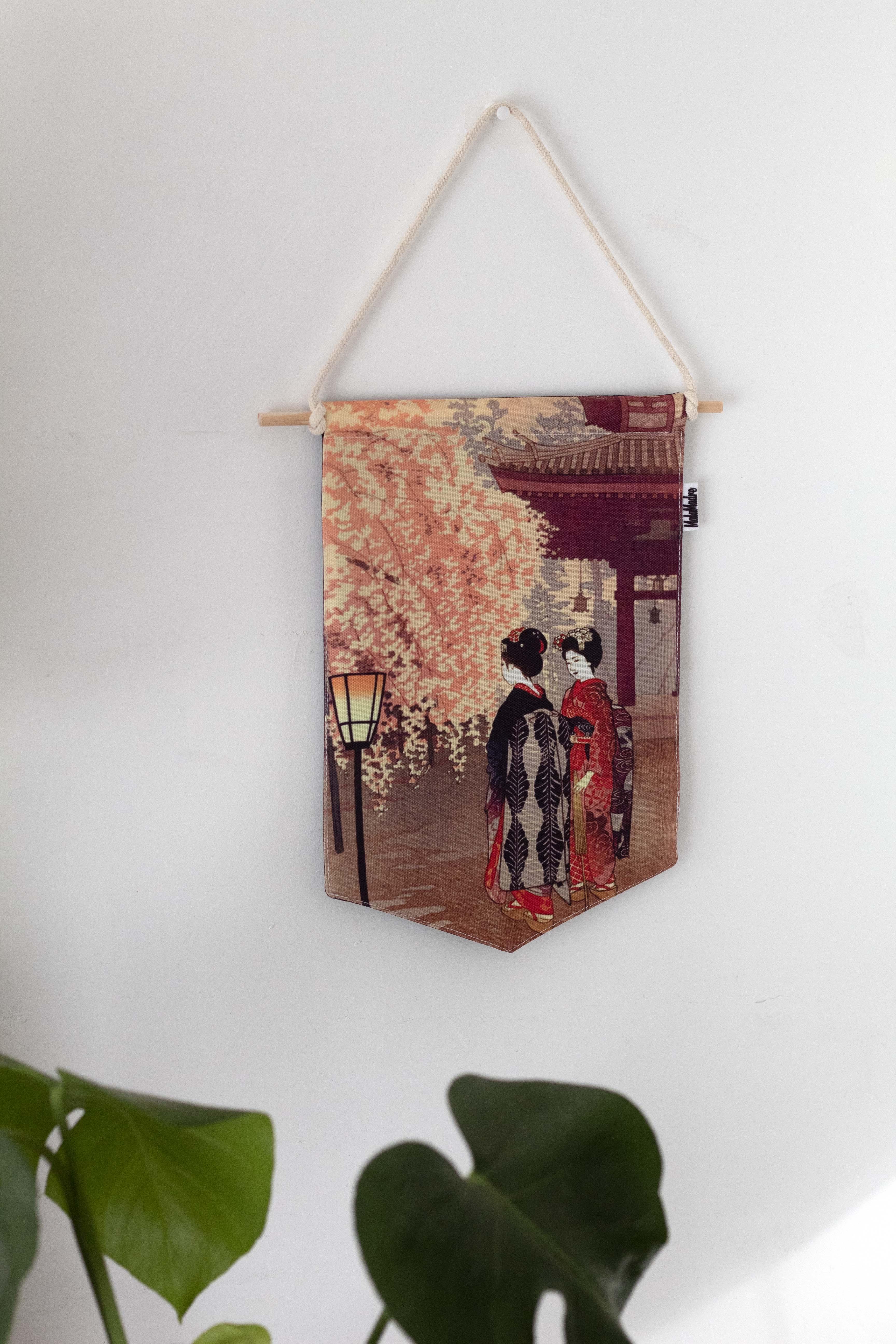 Banderín Geishas bajo Sakuras