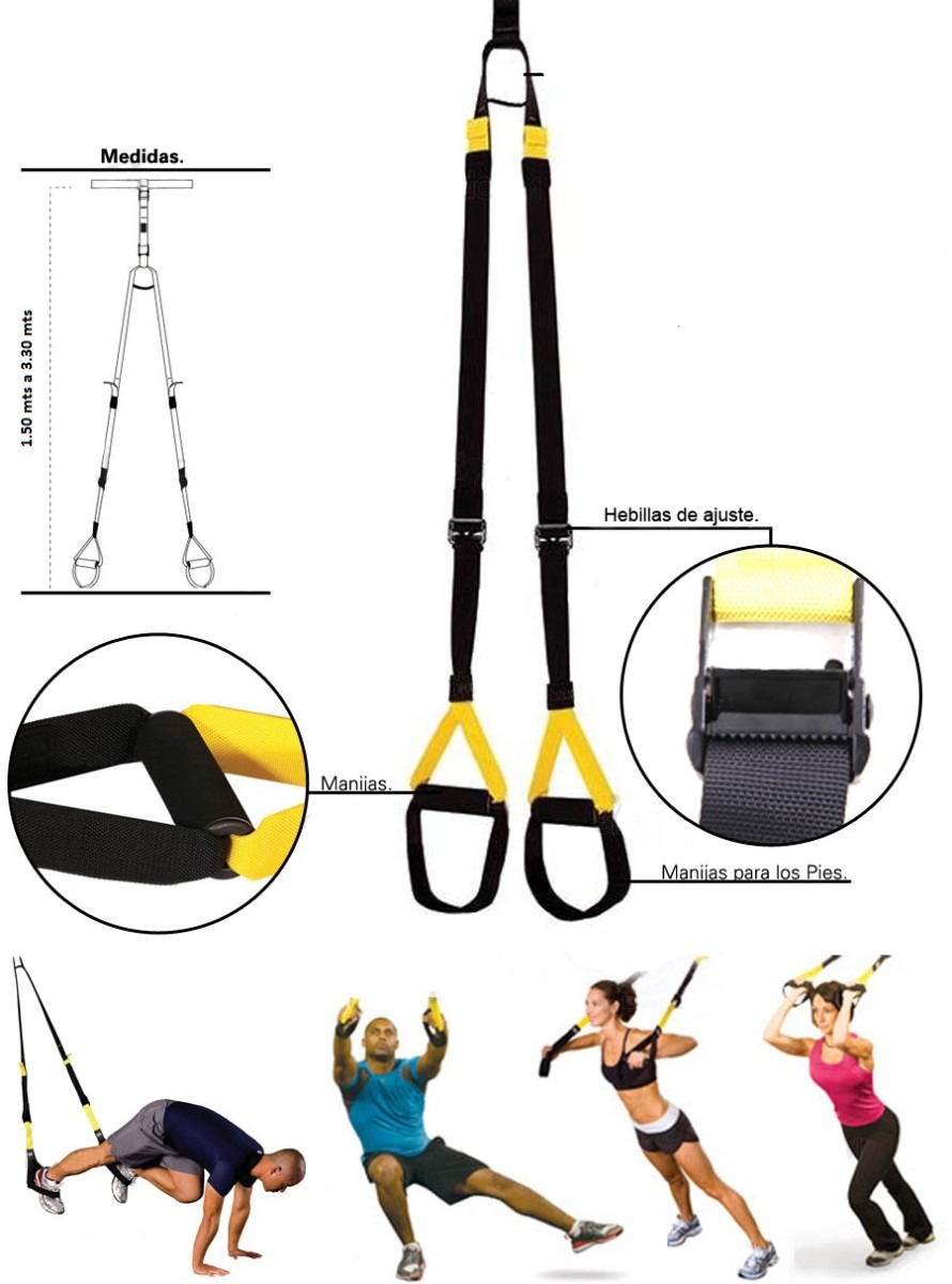 Kit De Bandas Suspension Crossfit TRX Con Bolso