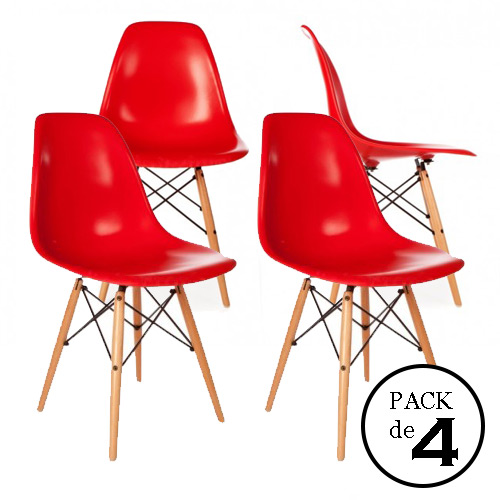 Pack 4 Sillas replica Eames Rojas