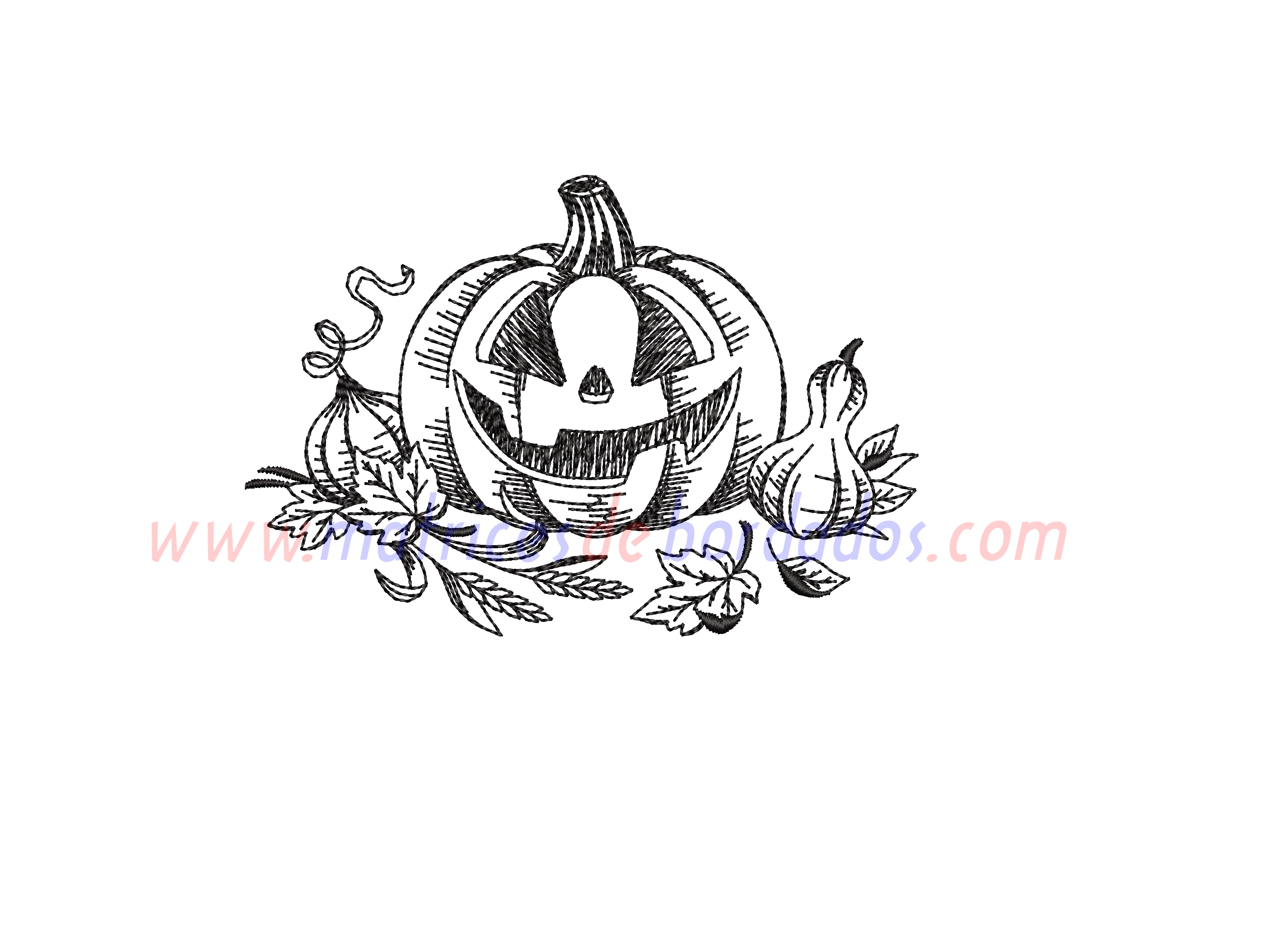 NL14VS - Calabaza en bordado lineal para Halloween