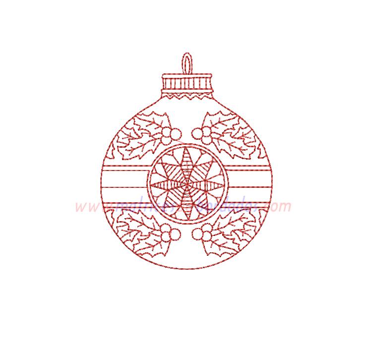 FG21VW - Esfera de Navidad en Redwork