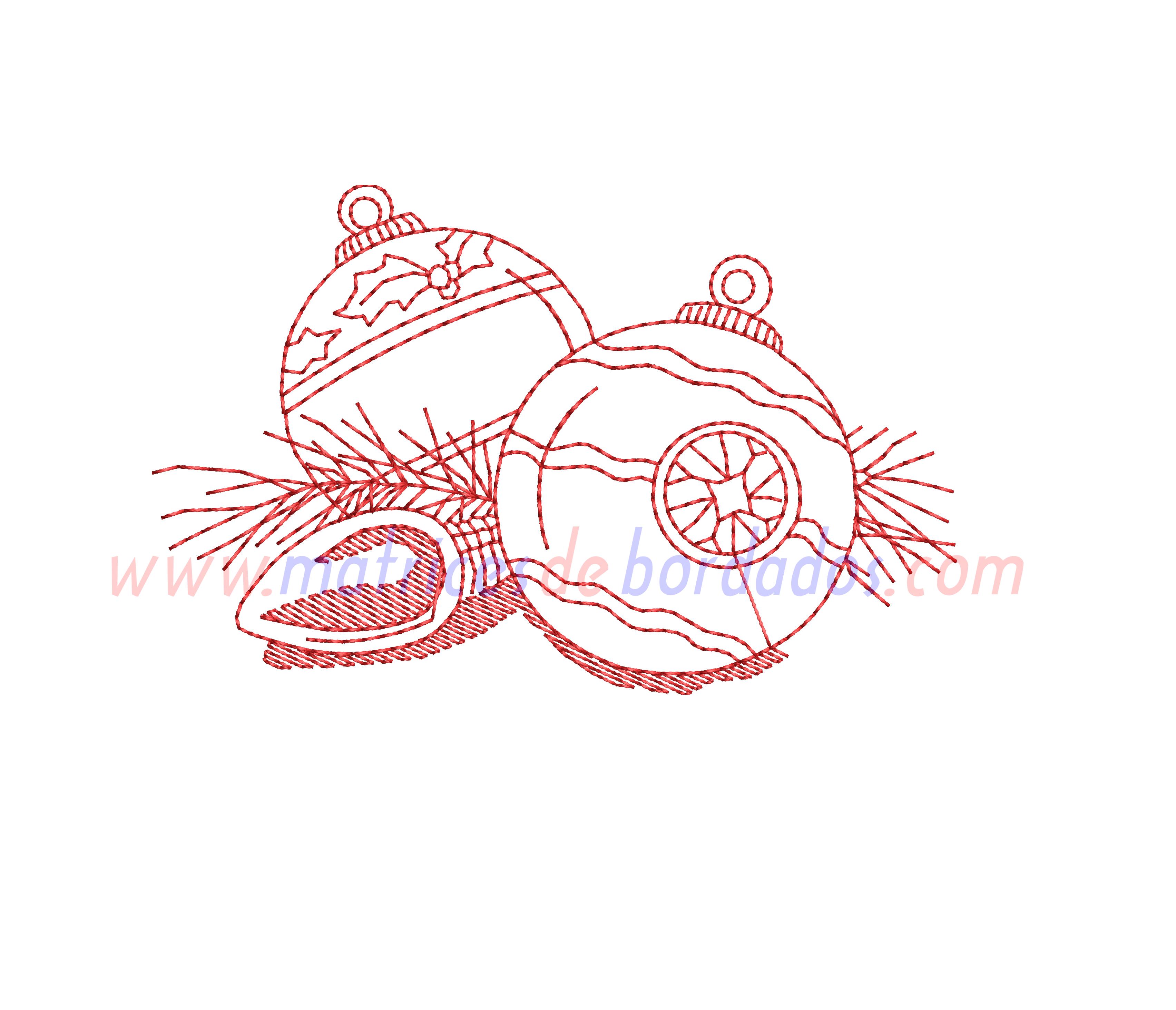 LU71YG - Esferas de navidad estilo Redwork