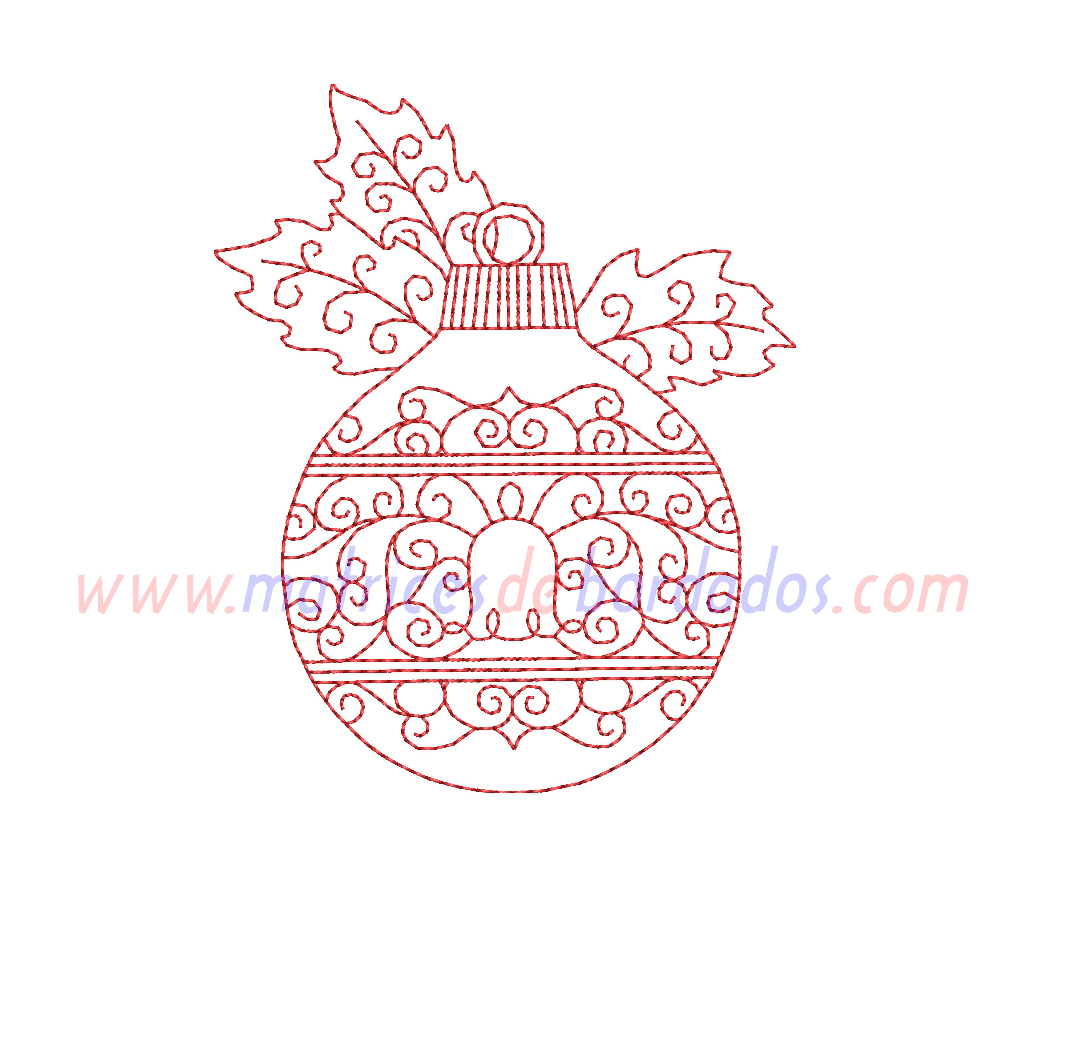 XV27LY - Esfera de Navidad en Redwork