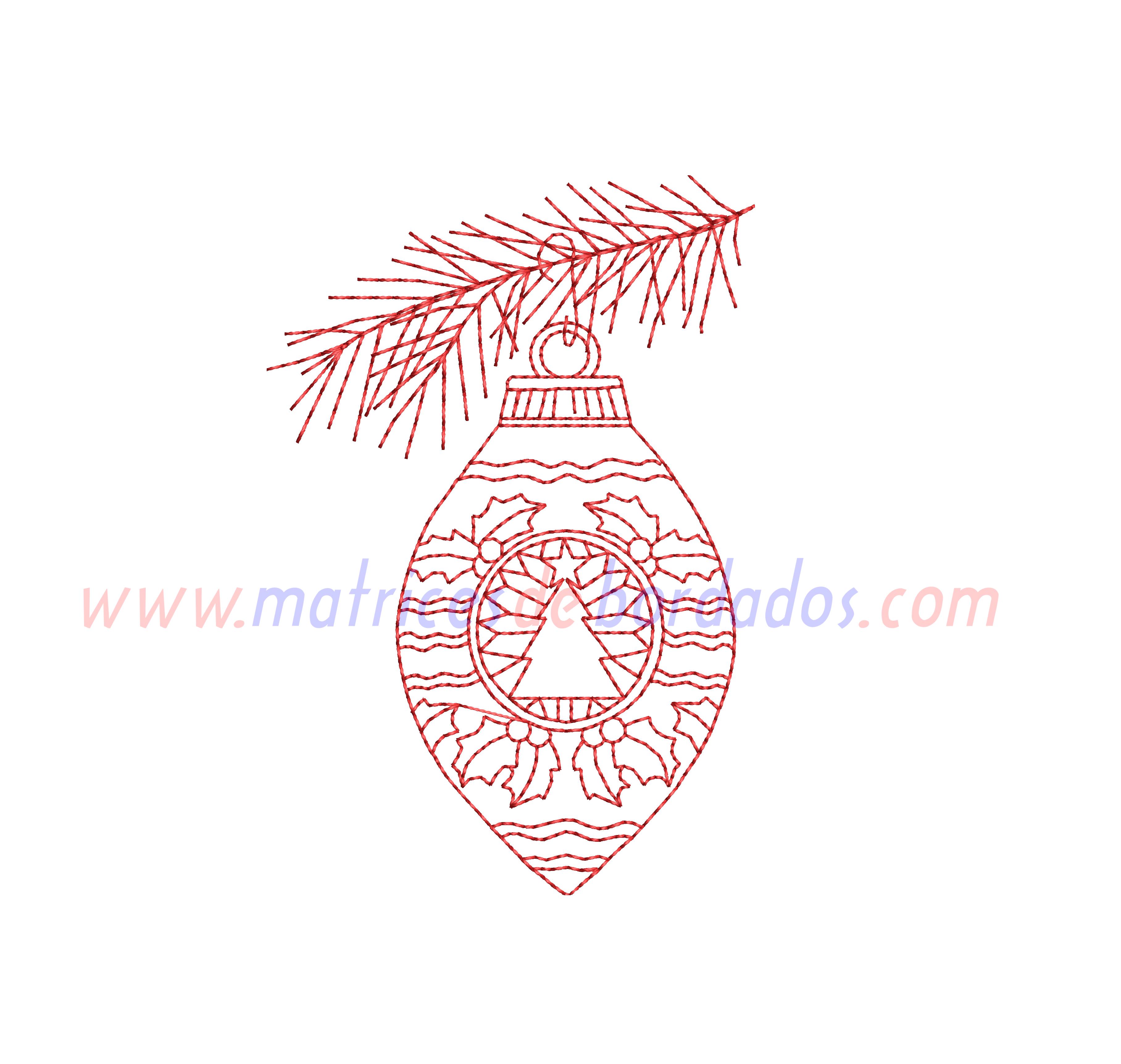 WV68EY - Esfera de Navidad estilo Redwork