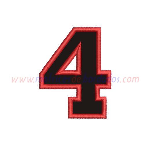 EJ16PT - Número cuatro en Apliqué