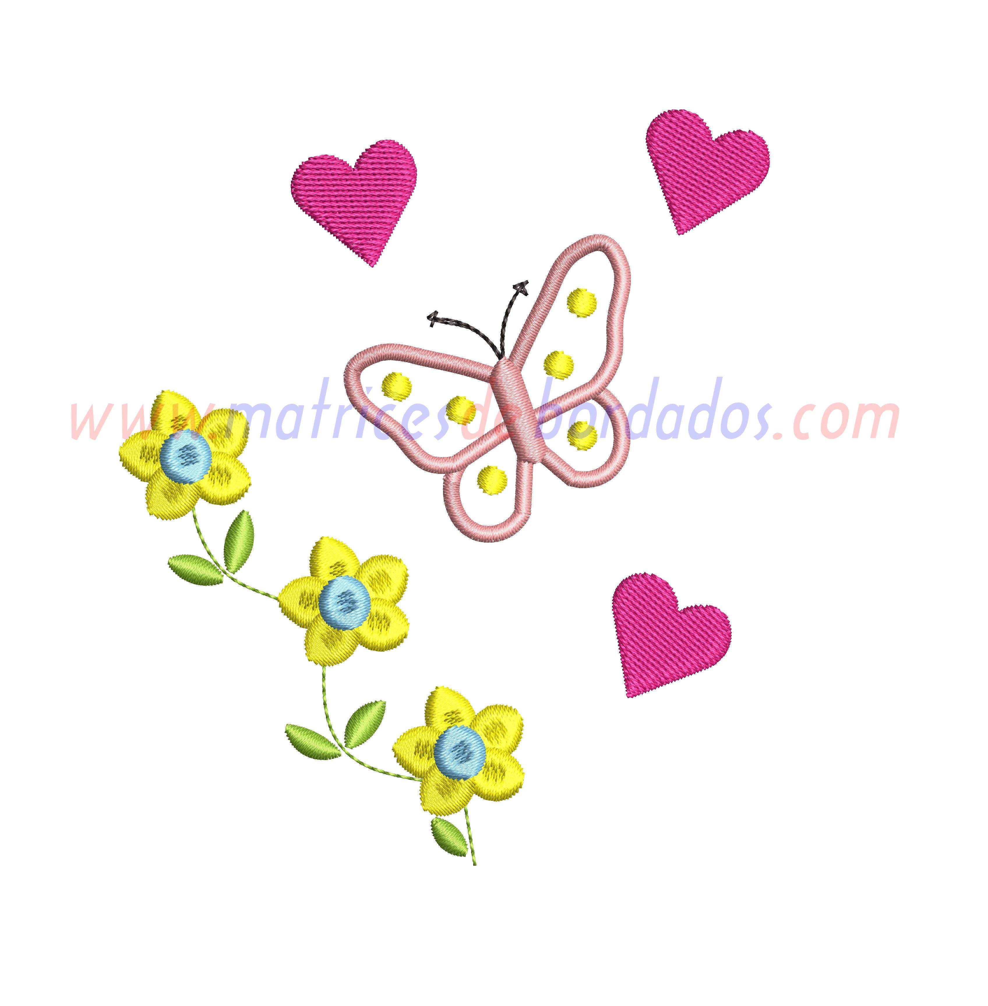 TK67BF - Flores y mariposa