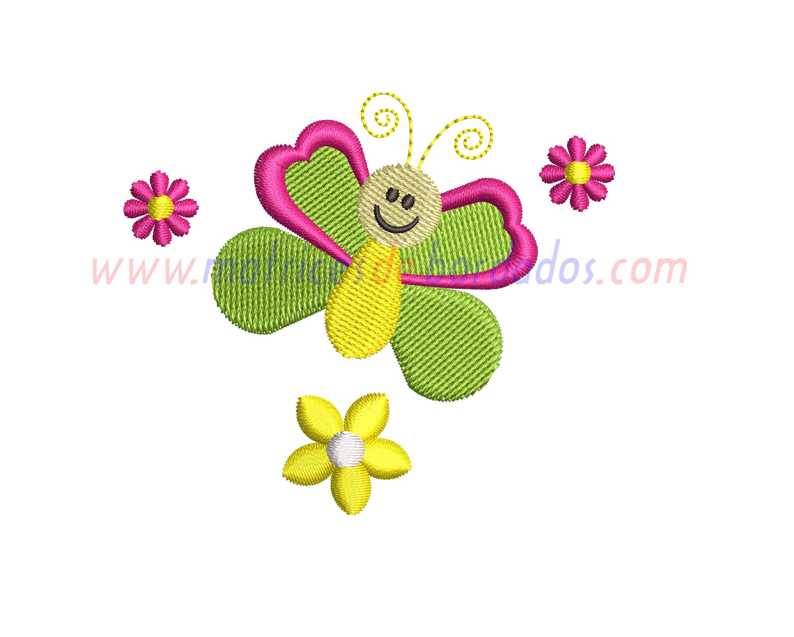 QU86LZ - Flores y mariposa