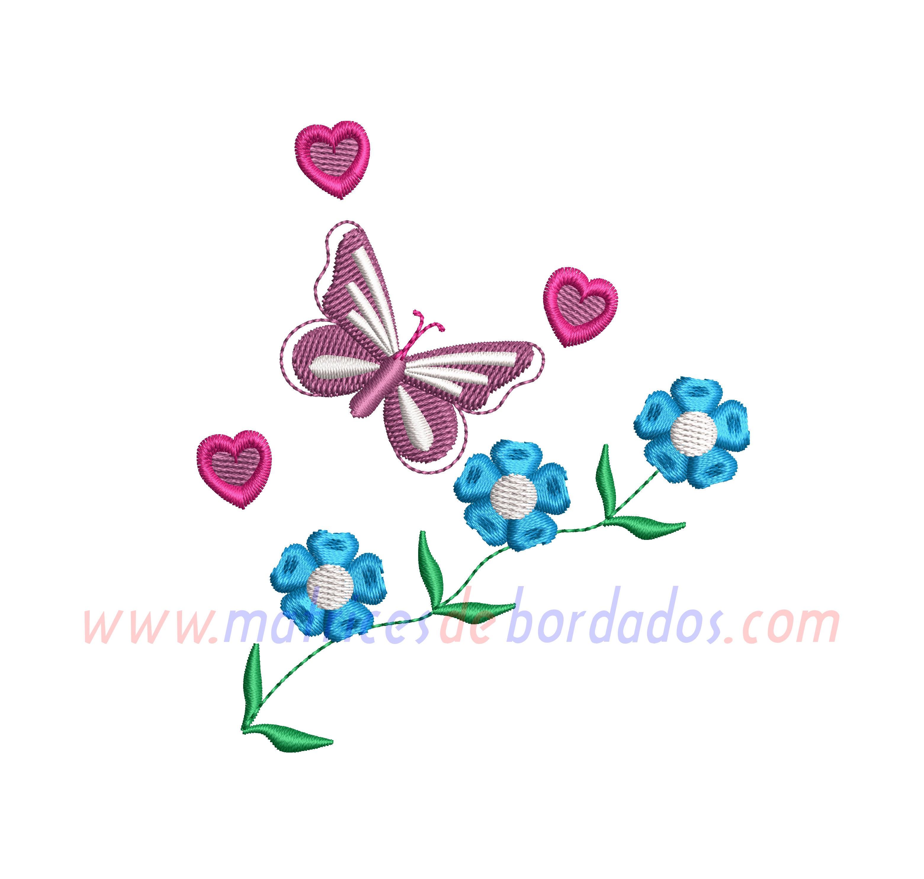 XH51TM - Flores y mariposa
