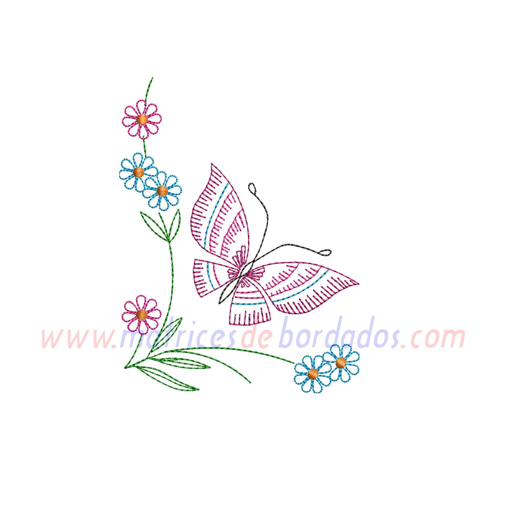 KU92DE - Mariposa y flores