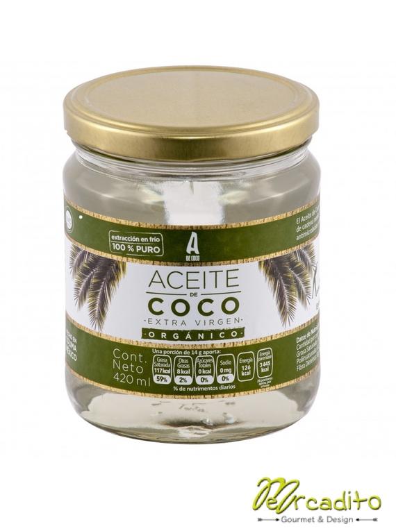 Aceite de Coco extra Virgen Orgánico 384 Gr - A de Coco