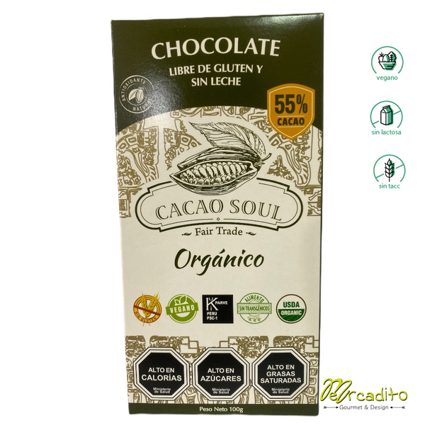 Chocolate 55% Cacao - Sin gluten, Vegano