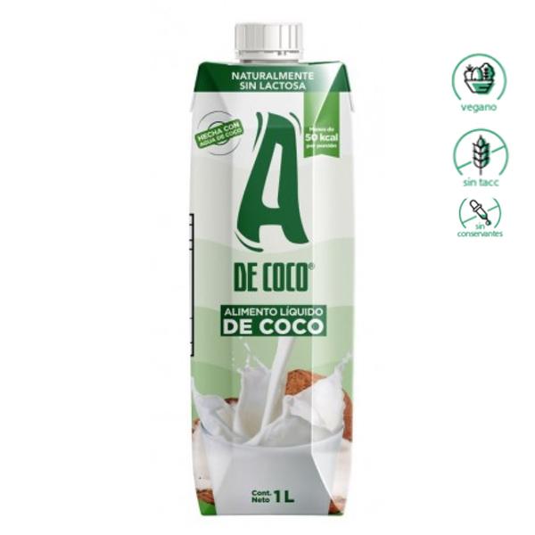 Bebida de Coco - A de Coco, Sin Gluten, Vegana