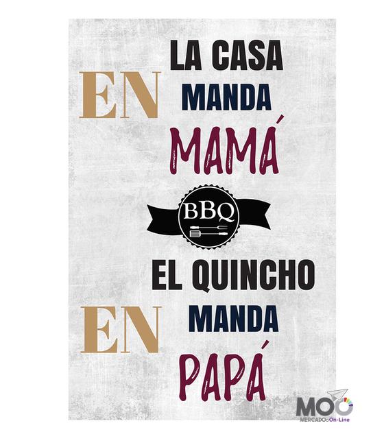 "Cuadro de Madera ""Manda Mamá, Manda Papá"""