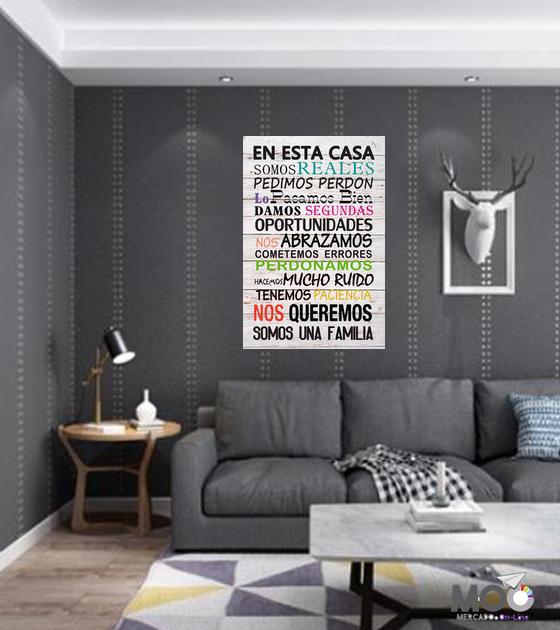 """Cuadro de Madera """"Reglas de la Casa"""""""