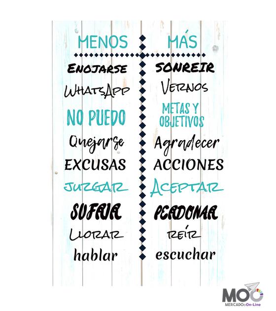 """Cuadro de Madera """"Menos y Más"""""""