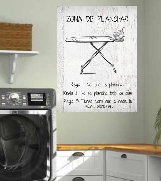 "Cuadro de Madera 30x40 ""Zona de Planchar"""