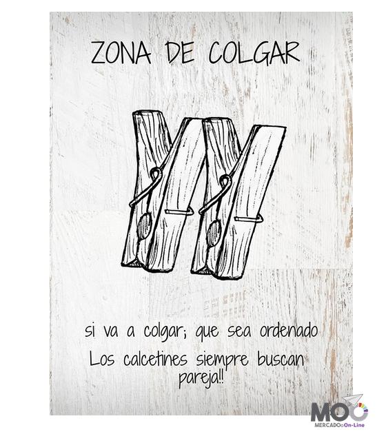 "Cuadro de Madera 30x40 ""Zona de Colgar"""