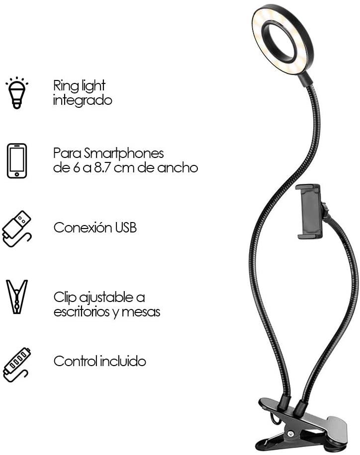 Aro de Luz con Clip (Negro y Blanco)